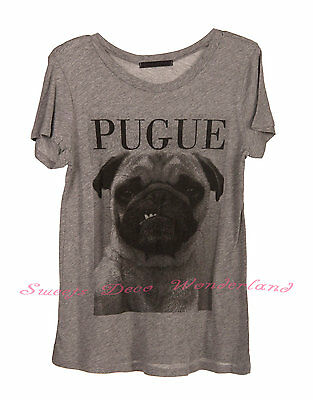 100% Authentic Cute Pug Pugue Vintage Graphic Top Tee / T-Shirt - Brand New