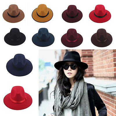 Women Men Unisex Vintage Blower Jazz Dance Hat Trilby Derby Cap Fedora Felt Hats