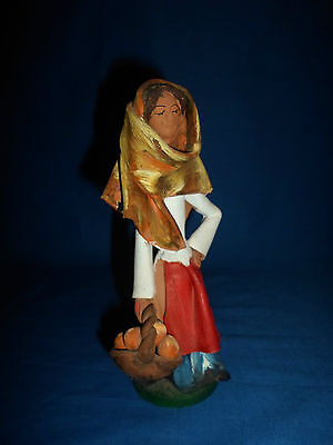 Vintage Italy  Signed G.Arena Sciacca Ceramic Clay Figurine -Woman with Fruit