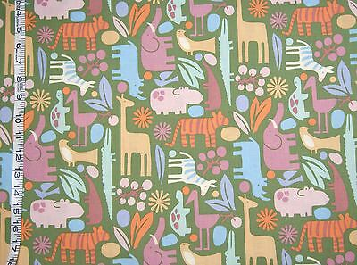 Alexander Henry Fabric 2-D ZOO animals- kids- baby  100% Cotton Fabric Novelty