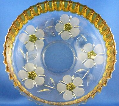 Heavy AMBER Crystal 1920's WHEEL CUT ENGRAVED Floral Bowl VG Antique - in Aust.