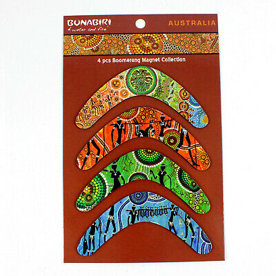 4 x Australian Souvenir Aboriginal Art Design Boomerang Fridge Magnets