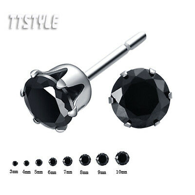 TTStyle Stainless Steel Black CZ Round Stud Earrings 3mm-10mm Single/A Pair NEW