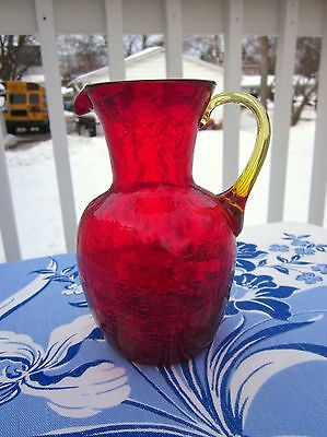 Vtg Crackle Art Glass Ruby Amberina Pitcher Blown Rainbow Viking Blenko