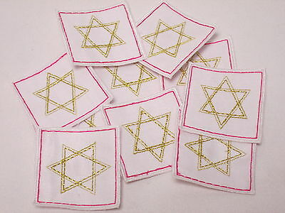 10 x Embroidered Pink Gold Star Card Gift Arts Crafts Making Motifs Badges#24A65