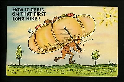 Military Comic linen Postcard Vintage WWII Army soldier  Proctor MH14