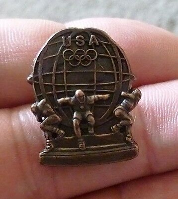 USA Olympic Globe Bronze Tone Pin 3 Atlas type Olympians holding the World