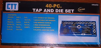 Brand New Metric Cal-Hawk 40 Piece Pc Tap and Die Hand Tool with Case Set