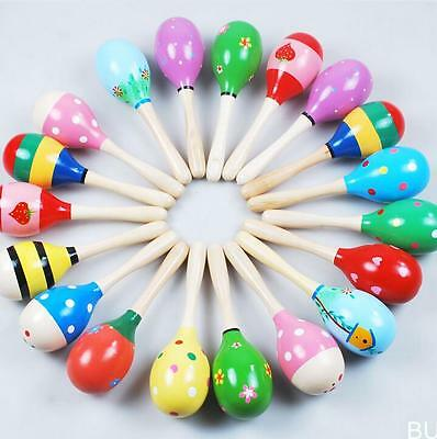 BUAU 1PC Colorful Wooden Maraca Rattles Kids Party Child Baby Beach Shaker Toy