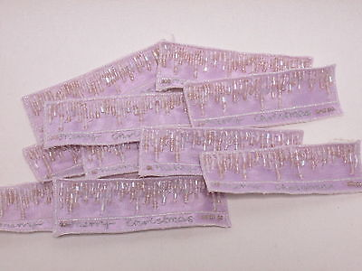 10 x Silver Beaded Cross Christening Card Making Embroidered Motifs #1A134