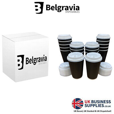 2000 Triple Walled Black Ripple Paper Cups For Hot Drinks Optional White Lids