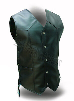 Mens Biker Style Vest Real Cow Leather All Black Motorcycle Waistcoat