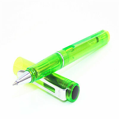 JINHAO 599 Transparent Green Student Medium Nib Black ink Rollerball pen New