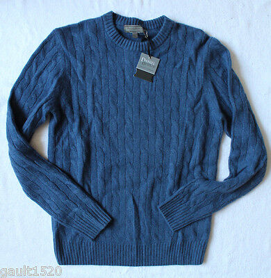 NWT Daniel Bishop 100% Cashmere Crew Neck Cable Knit Luxury Blue Sweater S $240