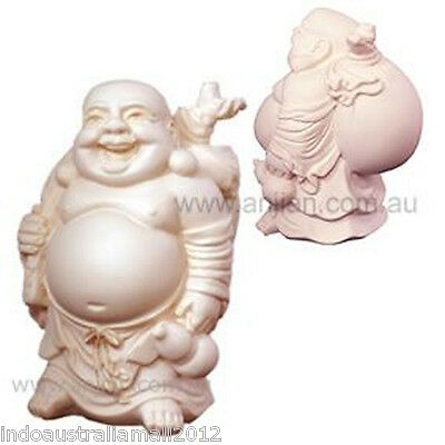 Laughing Buddha Statue White Carrying a Money Sack 90mm in  Box(LB007V)