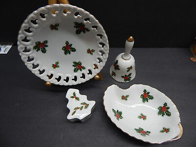 VINTAGE LEFTON HOLLY BELL AND CANDY DISH  #7944  &  #7946