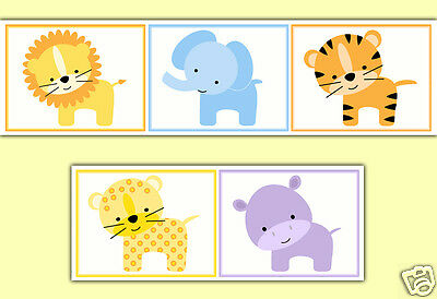 Jungle Animals Wallpaper Border Wall Decals Boy Girl Nursery Room Stickers Decor