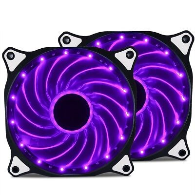 2 Pack 120mm PURPLE LED Computer PC Case Cooling Fan Quiet Sleeve Bearing Vetroo
