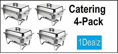 NEW CATERING 4 PACK FOLDING CHAFER CHAFING Dish Sets 8 QT PACK WITH $20 REBATE
