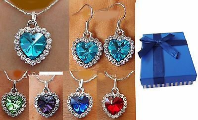 Heart Necklace Set Necklace Earrings Giftbox Red Blue s2 Swarovski El