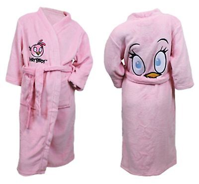 Angry Bird Super Soft Dressing Gown Robe Pink Girls Age 5-12 Years New