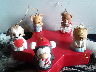 Fine Bisque Porcelain Bells lot of 5 Hand Painted L'il Charmers