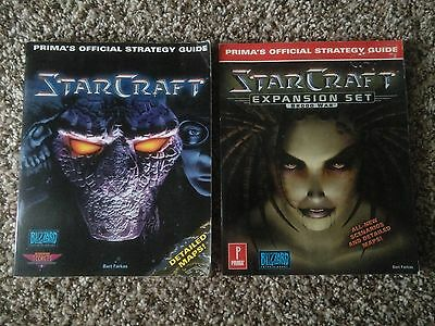 Starcraft and Brood War Expansion Set Official Strategy Guide Bundle Prima PC