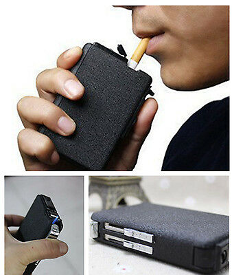 Hot Cigarette Case&Lighter Automatic Ejection Butane Windproof Metal Box Holder#