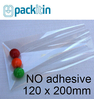 120 x 200mm (1000 qty) NON seal NO adhesive Clear Cellophane Cello Plastic Bags