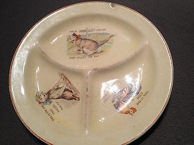 1920 Roma Pottery Divided Childs Nursery Rhyme Plate Made In Ohio
