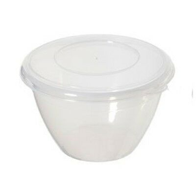 Whitefurze 1.2L Litre Round Microwave Plastic Pudding Storage Bowl With Lid