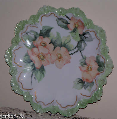 "Antique M Z Austria 8""Hand Painted Peach Floral Plate Scalloped Green Edge"