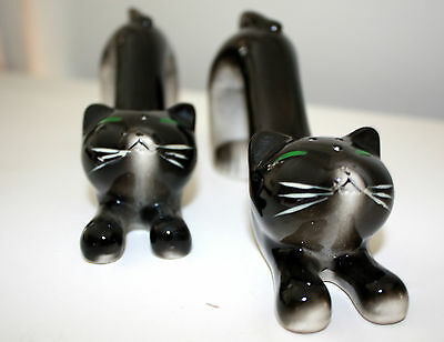 Vintage 1950s Long Cat Salt and Pepper Shakers Black & White Stretching WALES