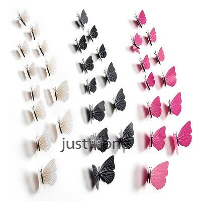 12x Set 3D Butterfly Design Art Decal Wall Stickers Home Decor Room Decorations