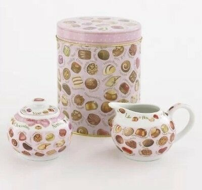 Chocolates Design Sugar Bowl and Creamer in Decorative Tin By Paul Cardew Design