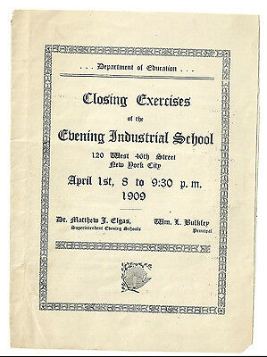 1909 Evening Industrial School NYC Closing Exercises Program