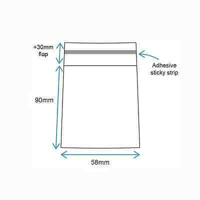 58 x 90mm (100 qty) Clear Cello Cellophane Reseal Resealable Poly Plastic Bags