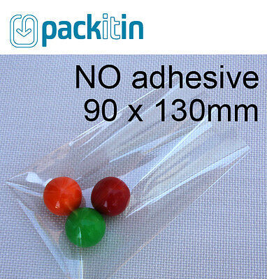 90 x 130mm (100 qty) NON seal NO adhesive Clear Cellophane Cello Cake Pop Bags
