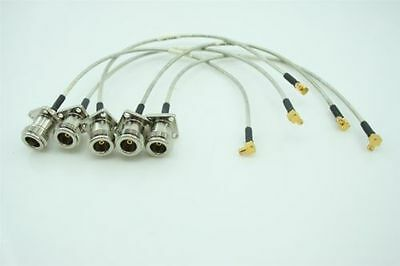 NEW Lot of 5 X N-TYPE To SMB Mil-spec RF Coaxial Jumper Cable Connector ~25 CM