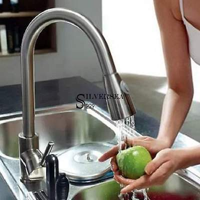 """Chrome16"""" Pull Down Kitchen & Spray Bar Sink Faucet - One Single Hole / Handle"""