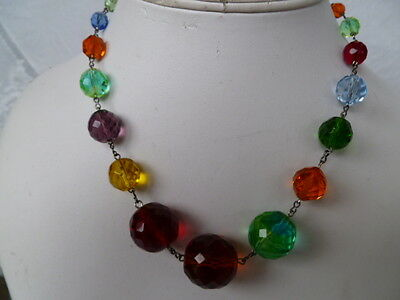 RARE 1930s-40s Art Deco EXQUISITE Faceted CZECH Glass Vintage Wired Necklace