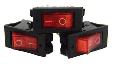 3 Pieces 12 Volt Rocker Switch On Off Mini with Red LED Car Automotive 10 Amp