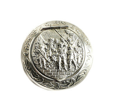 Dutch Silver Round Repousse & Hand Chased Scenic Pill Box of Armed Men