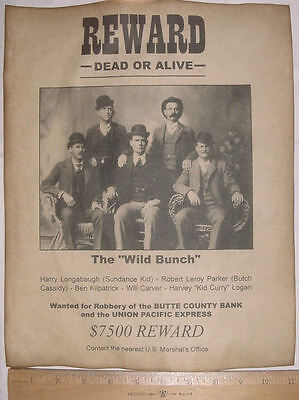 BIG 11 x 14 Wild Bunch Gang Wanted Poster, old west, western, Butch Cassidy