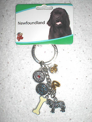 Newfoundland  dog New With Tags Monty`s Hallmark Key Chain sterling silver color