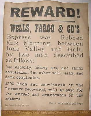 BIG 11 x 14 Wells Fargo Stagecoach Robbery Wanted Poster, western old west stage