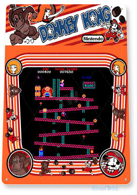 """TIN SIGN """"Donkey Kong Arcade"""" Shop Game Room Marquee Console Metal Decor A329"""