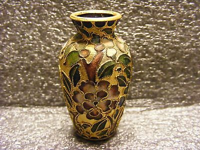 Super CHINA OLD CLOISONNE COLLECTABLE HAND CARVED FLOWER MINI VASE ORNAMENT