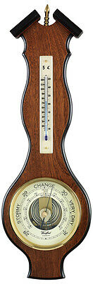 """Aneroid Barometer with Thermometer 5"""" Dial and Brass Finial"""