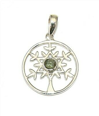 Moldavite Tree of Life Sterling Silver Pendant